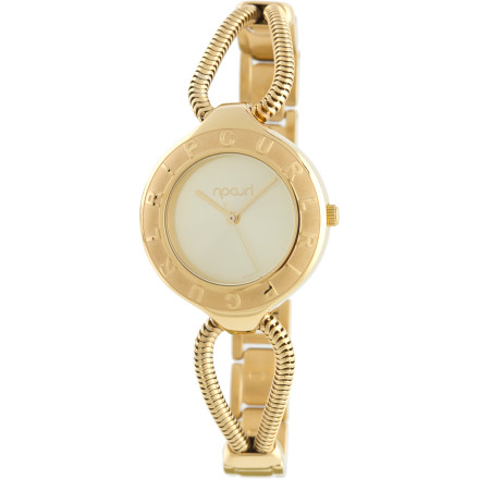 Entertainment The dainty and delightful Ripcurl Vixen Watch is half bracelet and half watch. A water-resistant design means you don't have to sweat rain storms or hot tubs, and your choice of gold or silver lets you accessorize to match your style. - $124.95