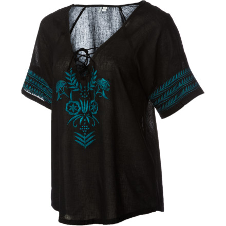 Surf Maybe they named it the Rip Curl Women's Compass Shirt because it's so flowy and easy-breezy, you'll lose your stand-still bearings. Made of cotton gauze, with wide dolman sleeves and sexy front lace-up, it's the ultimate free-your-mind top. - $32.17