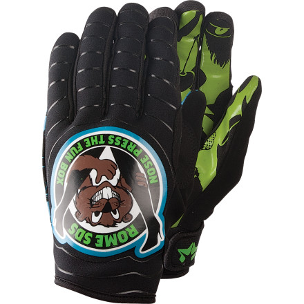 The Rome Beaver Glove raises an enthusiastic hand in salute to everybody's favorite thing-riding the terrain park (of course). Stretchy neoprene construction keeps the beaver snug and comfortable, and silicone grippers keep your fingers from slipping anywhere uncomfortable (like into a tindy grab). The Beaver even has a soft nose wipe for quick, mid-action cleanups. - $29.97