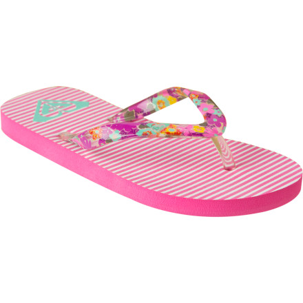 Entertainment Sorta flat rocks, water, dad, big bro, and the setting sun; the simple past-time that brings so much joy. The Roxy Girls' Pebbles Sandals; what keep her feet from getting sore on the shores of the lake while learning to skip rocks. - $8.00