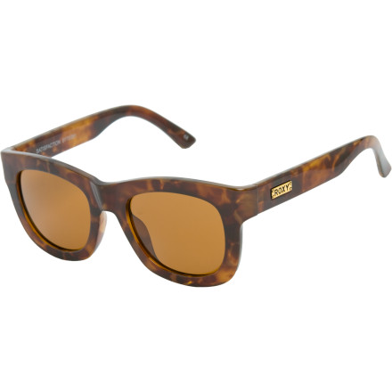 Entertainment Get your irony on an adorn your face with the ultra-hip Roxy Women's Satisfaction Sunglasses. You're too cool for school in these chunky fashion-forward frames with a retro Beat attitude. - $84.50