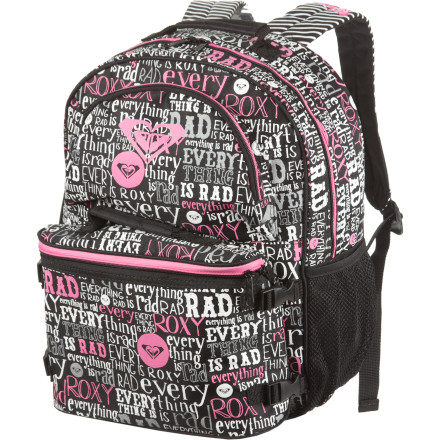 Camp and Hike The Roxy Girls Bunny Backpack comes with a detachable cooler lunchbox and a plastic food container so your rabbit can carry her carrots and lettuce to the lunchroom in style. Roxy also included a drink bottle for strawberry lemonade or grape juice on-the-go. A good-sized main compartment fits a sweater and a book or two without weighing your girl down on her walk to school. - $39.60