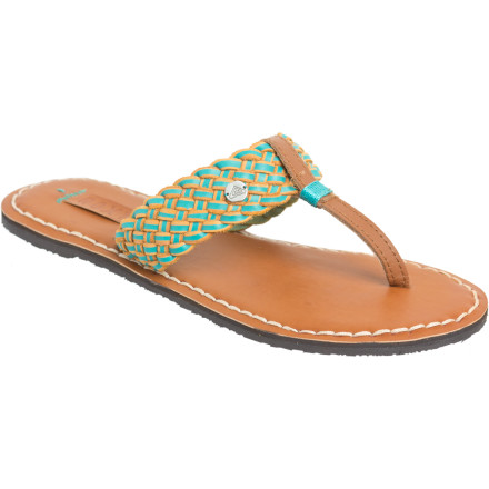 Entertainment Your summer dresses and skirts call for the Roxy Pisco Sandal. The braided leather strap and stitch detail boost style while light padding adds just a smidgen of cushion for walks along the docks. - $24.50