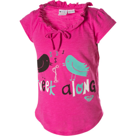 Surf The Roxy Little Girls' Spunky Shirt features varied applique graphics of cute catch phrases. The Spunky is made adorable by capped sleeves, a ruffled neckline with tie detail, and a shirt-tail hem. - $11.20