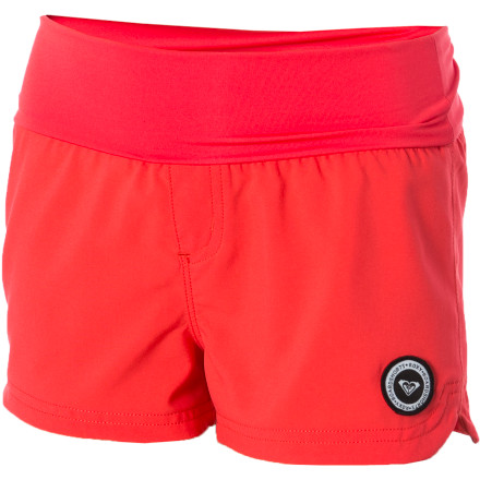 Surf The Roxy Girls' Clan Endless Sun Board Short blends surf fabric with a touch of yoga style. - $18.00