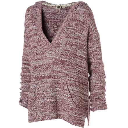 Surf The Roxy Women's Sierra Ridge Hooded Sweater bridges the gap between comfortable and cute. Wear this knit pullover when you want to be home-on-the-sofa comfortable and going-out-to-dinner fashionable. - $53.55