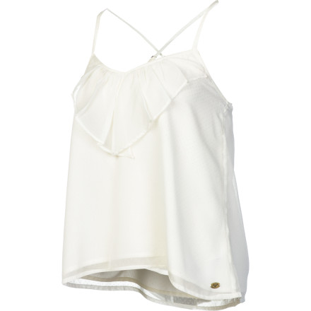 Surf Whether you're getting ready for a concert or holiday party, slip on the Roxy Women's Smokin Hot Tank Top. Its ruffled front, relaxed fit, and full lining add a dash of romance to your outfit and helps keep you cool when things start to heat up at the show or party. - $28.93