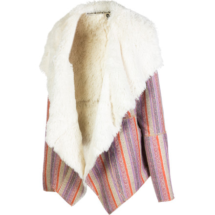 Surf Add instant flair to any outfit when you top if off with the Roxy Women's Moonstone Jacket. This dramatic jacket combines classic poncho stripes and a big, dramatic collar to create a fun, funky, and totally unique look. - $64.68