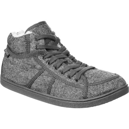 Surf Get the stylie looks of the high-top canvas sneaker without freezing your feet in the winter with the woolly, furry Roxy Women's Rockie Fur Shoe. A soft wool upper is comfy-cozy while the faux-fur lining feels fuzzy-good next to skin. Add a flexible sole and cotton lace-up and you have the perfect funky winter sneaker-shoe. - $32.40