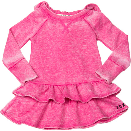 Entertainment When your girl pulls on the Roxy Girls' Toasty Dress, its soft burnout fabric, cozy hood, and fresh style will stay with her all day. - $21.60
