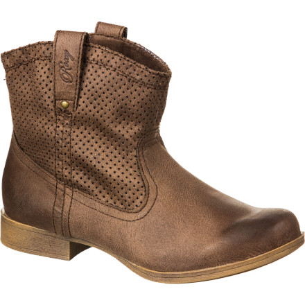 Surf Go Wild West in the weathered faux-suede Buckeye Boot, with its ankle height, pull tabs with metal studs, and perforated good looks. A striped lining and padded insole ensure this boot's beauty is not just skin-deep, and the flexible, comfy sole is the buffer between you and the hard earth. Because you can go wild and be comfortable, can't you - $47.40