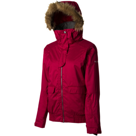 Snowboard Equip yourself with the fashion-forward Roxy Women's Vista Jacket and enjoy those sunny-but-chilly days on the slopes. Comfy insulation throughout provides solid warmth, while mesh-lined underarm vents dump heat when you hike. - $185.00