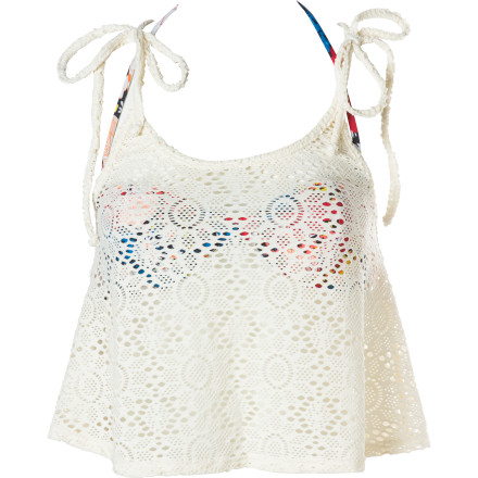 Surf Roxy Daisy Rhapsody Crochet Tankini With Bandeau Bikini Top - Women's - $41.80