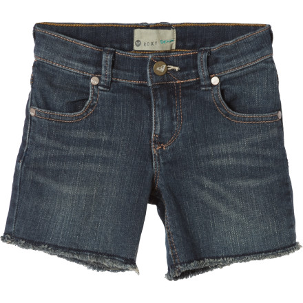 Surf With its cool stretch denim style, funky stitching, and raw edges, the Roxy Little Girls' Beach Side Short helps her feel like one of the big girls. - $23.70