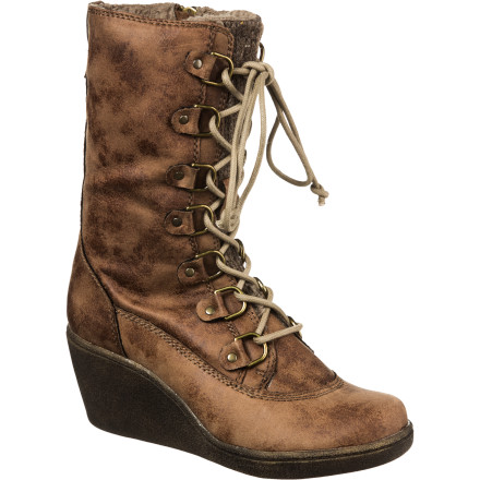 Surf Frightful weather got you down Boost your spirit with the delightful style of the Roxy New Haven Boot. Distressed faux suede and an elevated wedge help to keep you safe from slush while the faux fur cuff and footbed supply your foot with the same comfort that comes from basking in the glow of the fireplace. - $57.85