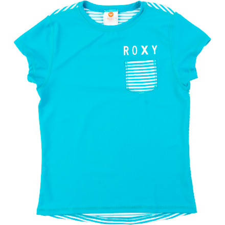 Surf The Roxy Girls' Breezy Babe Sail Away Rashguard protects her skin from sand-encrusted surfboards and the sun so she can stay out longer without frying her tender skin. - $22.10