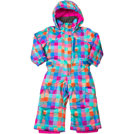 Snowboard All you have to do is lay out the Roxy Little Girls' Cold Spell One-Piece Snow Suit and she eagerly scrambles out of bed in excitement. This doll-of-a-snow-suit features cozy warm insulation, light weatherproofing, a Sprout-Up system, and fresh style that offers a comfortable fit and a hip appearance while she learns to ski or board. - $60.73