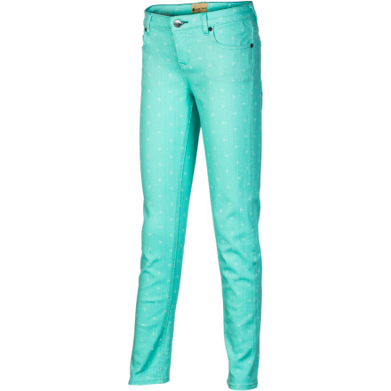 Surf Watch out, world: the bright-hued, skinny-silhouetted Roxy Girls' Skinny Rails Denim Pant is here to get the party started. Classic denim with a modern, slim fit and stretchy mobility make this a playful, fun, yet practical pant that will dance, kick, and sit yogi-style just about anywhere. - $32.18