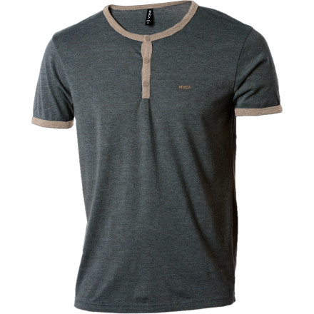 Professor Henley was always telling us about how we'd never amount to anything until we stopped being a smart-ass and started paying attention. Little did he know that we would grow up to write smart-ass product descriptions about stuff like this RVCA shirt. - $29.96