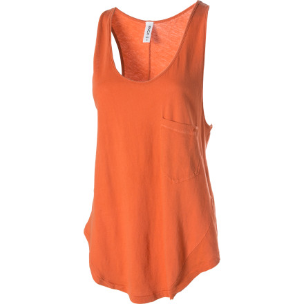 Surf Hit your loudest live music venue, and rush the stage wearing your RVCA Women's Clementine Tank Top, a black leather jacket, and as much makeup as you can fit on your face. Or you could just wear it for a nice leisurely stroll downtown. It just depends on what you've been drinking. - $23.98