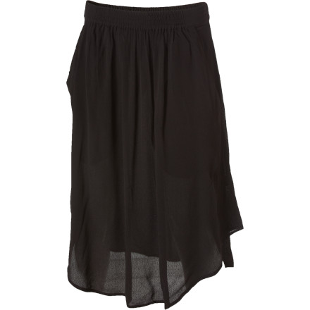 Surf The RVCA Guilt Ridden Skirt uses lightweight rayon crepe and a scalloped hem to create a unique, eye-catching silhouette. This free-spirited skirt teams up well with a short-cropped sweater or a tank top. Plus, the high waist lengthens your legs and helps your stomach look flat. - $28.98