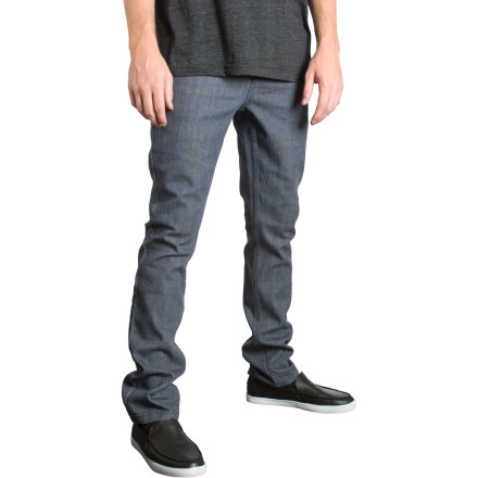 Skateboard Like a long awaited sequel, the RVCA Mens Spanky II Denim Pants dont disappoint. With super slim fitting legs and a low rise waist youll keep your skate style looking fresh. A little spandex thrown in the mix gives these pants a nice stretch, so its easier to Ollie that five board pro stack. - $28.78