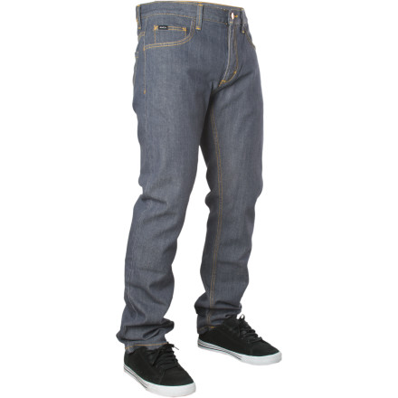 Skateboard Turns out Leo Romero is pretty good at this skateboarding thing. If he sticks with it, he might make something of himself someday. He's off to a pretty good start with signature-model clothing like these RVCA denim pants. - $37.17