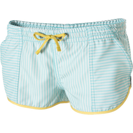 Surf The RVCA Women's Make Believe Board Shorts use a touch of vintage fun to give you a beachy look that is unique and exciting. Plus, these shorts are more than just cute\227wear them swimming, surfing, or lounging in the sand. - $21.98