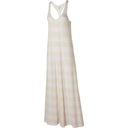 Entertainment The RVCA White Moon Maxi Dress is a little bit supermodel and a little bit beach bum. Wear this dress while you're perusing boardwalk shops before the beach. You can even slip this long dress over your bikini and go straight from shopping to the water. - $41.67