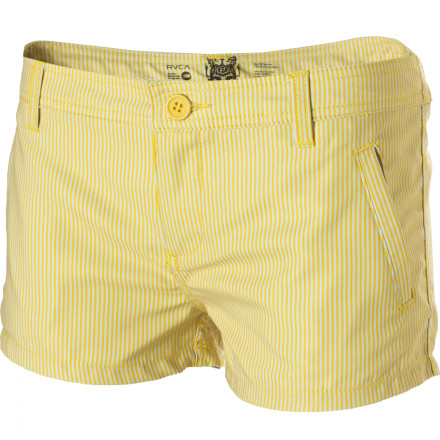 Surf The RVCA Women's One Way Street Board Shorts are full of secrets. They might look like a sensible pair of casual shorts, but they are really undercover board shorts. You can rock these short shorts shopping in the morning and then hit the beach with them in the afternoon. - $20.68
