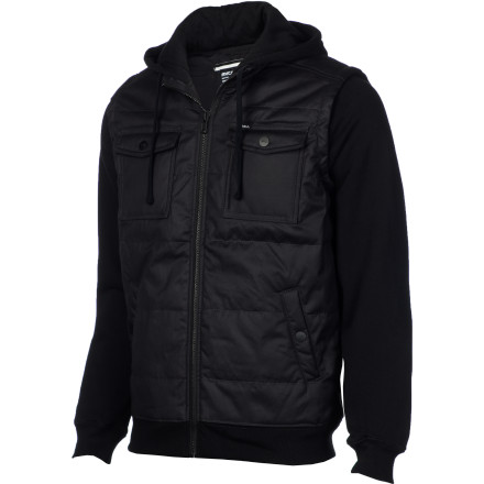 Throw on your RVCA Men's Puffer Alcatraz Full-Zip Hoodie before you head our for the night, confident in the knowledge that this canvas jacket will boost your smooth factor and keep you looking good from your first drink to the after-party. - $68.76