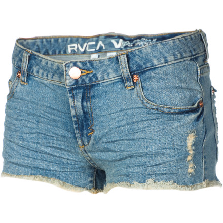 The RVCA Women's Remain Silent Shorts will keep you looking hot, even if you're being led out of the bar in handcuffs. But even restrictive restraints can be accessories if you have right outfit and the attitude to pull it off. - $35.07