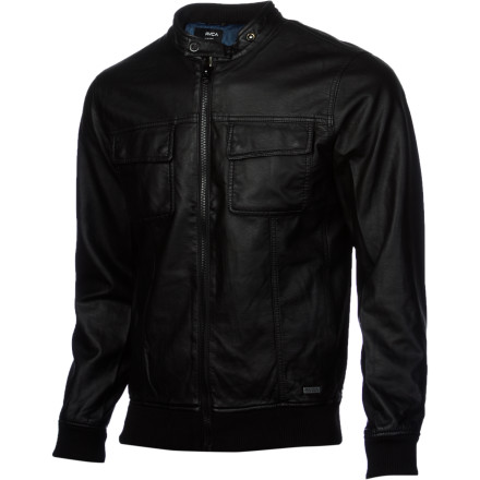 Toss on the RVCA Men's Crasher Jacket when you're on your way out the door to meet the boys for a beer and some live music. This low-profile jacket features a regular fit and faux leather fabric. - $91.96