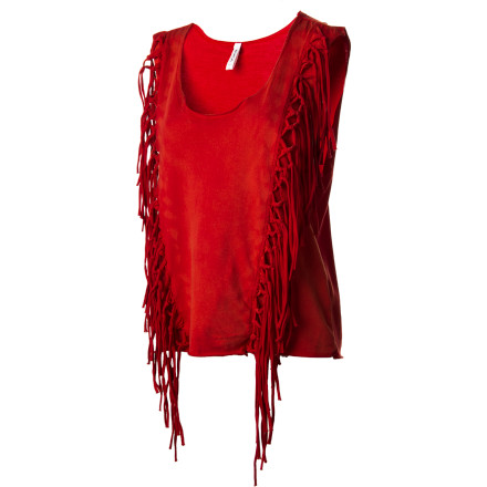 Surf You think outside the box, and you love the freestyling, line-crossing RVCA Women's Knock About Tank Top, with its self-macrame and raw-edged fringe that sways with your sassy moves. Tops with well-defined borders No thanks. You want to look as free as you think. - $23.07