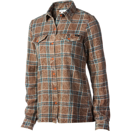 Down and dirty brawn and beauty: the straight-up cool and casual RVCA Women's Dirty Beauty Woven Shirt is your classic flannel with acid-wash zing, relaxed mobility, and the great look of yarn-dye. And all-cotton construction makes it a natural for easy wear and care. - $27.20