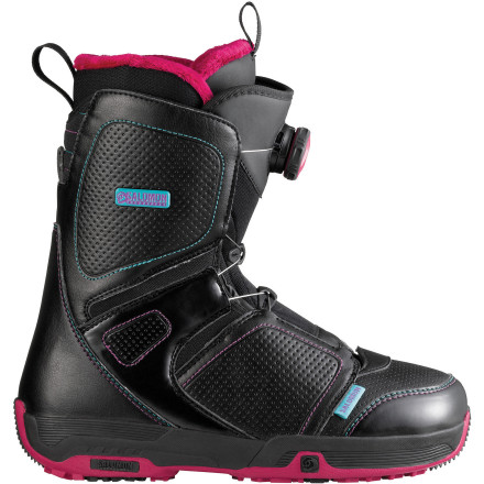 Snowboard The Salomon Pearl Boa Snowboard Boot is engineered to make snowboarding more comfortable and less of a hassle. Thanks to the Boa Coiler speed-lace system, you can tighten your boots with the twist of a knob, without ever taking off your gloves. The Feel Good liner delivers a cushy, mellow fit right out of the box, ideal for comfy cruising in any condition. - $113.94