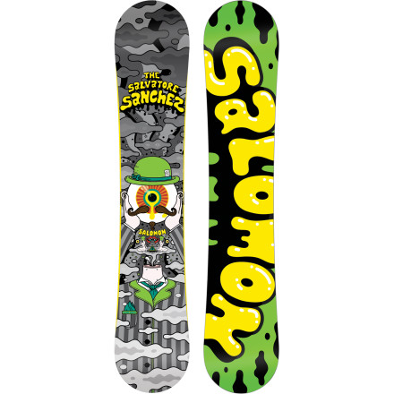 Snowboard The Salomon Salvatore Sanchez Snowboard is a confidence-inspiring all-mountain freestyle deck that draws grins from everyone from the beginner to the pro. This soft-flexing ripper features full rocker, a predictable radial sidecut, and fully-de-tuned edges for all-day fun. - $197.94