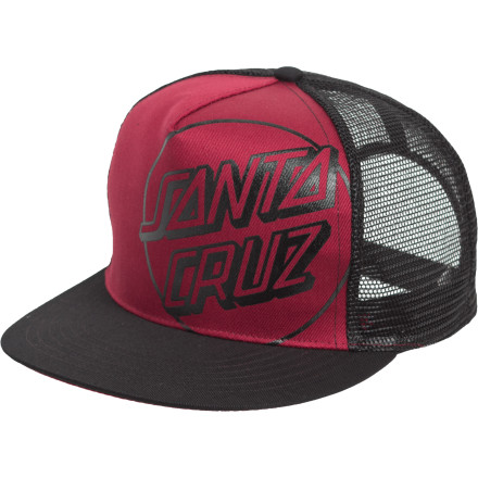 Skateboard Don't limit your lifestyle to just one skate spot, one break, or one lid; add a little extra love to your dome-drobe with the Santa Cruz Opus Trucker Hat. - $12.02