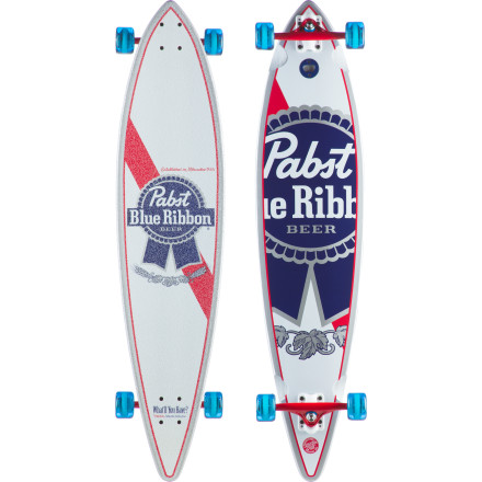 Skateboard Don't drink and drive. Instead, weave your way back from the bar on the PBR Pintail Longboard. The classic pintail longboard shape provides a large surface to stand on when your balance is starting to fail you, and with the classic Pabst logo visible on both sides of the deck, you might even score a free glass of your favorite beverage from the bartender when he sees you walk in with this board. - $127.16