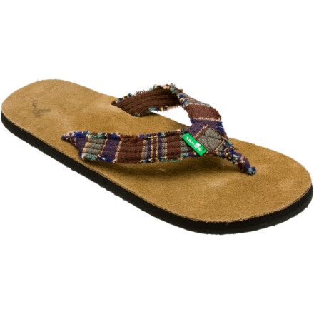 Surf Don't be afraid of the suede in the Sanuk Women's Fraidy Cat Sandal. It only makes things softer. Softer you ask. Yes, softer. Built-in arch support and a toe springthat's rightprovide anatomical support, and the distressed canvas strap adds laid-back personality to the Sanuk Fraidy Cat Sandal. - $30.56