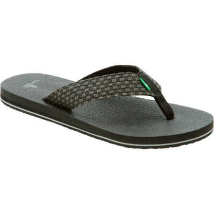 Surf Whether youre the master of the crane pose or you cant reach your toes, the Sanuk Mens Yogi 2 Sandal will help you mellow out and find your inner balance. Sanuk made this flip flop with squishy, super-comfortable yoga mat material thatll have you chanting Namaste in no time. - $23.77