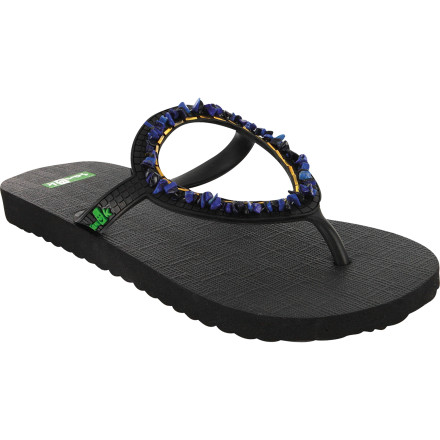 Surf The Sanuk Ibiza Gypsy Sandal incorporates a simple but marvelous concept that improves upon a traditional 3-point flip-flop design. Sanuk calls it ring-strap. Basically, you have the fit of a sandal with a heel strap, minus the pressure points and chunkiness. There is no sliding around and, guess what The Ibiza Gypsy is super soft and it looks amazing too\227which is more important than anything. - $14.38
