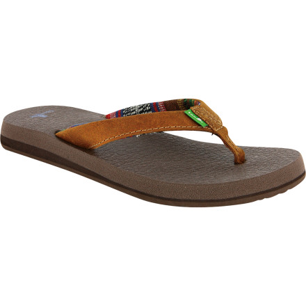 Fitness The Sanuk Women's Yoga Mat Primo Sandal features a footbed that is made from real yoga mat material. This doesn't mean you have to be able to bend like a rubber band to appreciate the all-day comfort and clean style of this luscious, vegan-friendly sandal. - $31.96