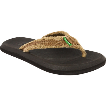 Entertainment The Sanuk Boy's Who's Afraid Sandal ensures comfort with its high-rebound EVA footbed and comfortable distressed-textile upper strap. Comfort is key for any foot reallywhen you're younger it's growing pains, when you're older you just hurt everywhere and for no reason at all. - $19.16