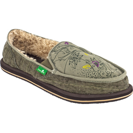 Entertainment Roll out of bed, slide your feet into your toasty-warm Sanuk Women's Scribble Chill Slippers, and laugh at anyone running around the house barefoot. These flexible little beauties have a cushy rubber sole, antimicrobial treatment to resist foot funk, and cute detailing that adds a feminine touch. - $38.97