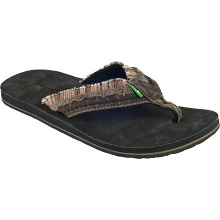 Surf The Sanuk Fraid Too Sandal features a pre-worn look for vintage style without the vintage foot-stank. - $35.16