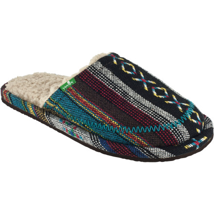 Entertainment The Sanuk Women's Rugburn Slipper requires no amount of bending or grabbing to put on. And that's good when whatever you did last night makes even sitting up in bed a laborious process. - $23.97