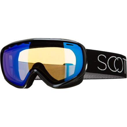 Snowboard If you're sick of feeling like your entire face is covered by your goggles, check out the Scott Women's Dana Goggle. Its women-specific design and fit will cover your eyes without swallowing your nose and half of your chin as well. Plus, its Spherical Scott Optiview Double lens lets you see your next turns clearly and catch a good view of that porcupine waddling across the trail, without any lens distortion. - $76.97