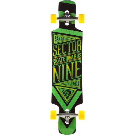 Skateboard Launch yourself down the biggest hill in town on the Sector 9 Slingshot Longboard. The drop-through deck design provides a more stable ride so you can go faster more comfortably, and it makes powerslides easier so you can throw on the brakes when you need. The deck has fiberglass added to make it stiffer and more responsive, so you have ultimate control. - $268.95