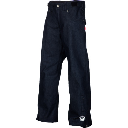 Snowboard Keep it G on the mountain in the Sessions True Denim Men's Snowboard Pant. It's made with a DWR-treated denim fabric for an authentic jean look and feel, and unlike most of the skinny jean-styled pants out there, it has a slightly baggy fit that keeps you feeling loose and comfortable with or without layers underneath. - $107.98